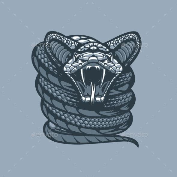 Twisted Viper Monochrome Tattoo Style - Miscellaneous Vectors