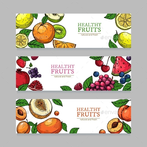 Berries and Fruits Banners Cartoon - Food Objects
