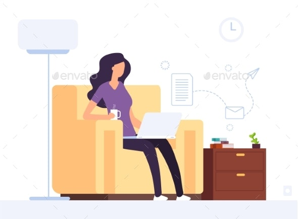 Woman at Home Office - People Characters