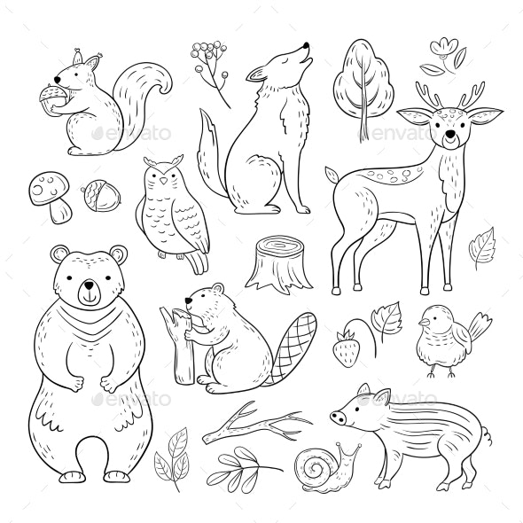 Doodle Forest Animals - Animals Characters