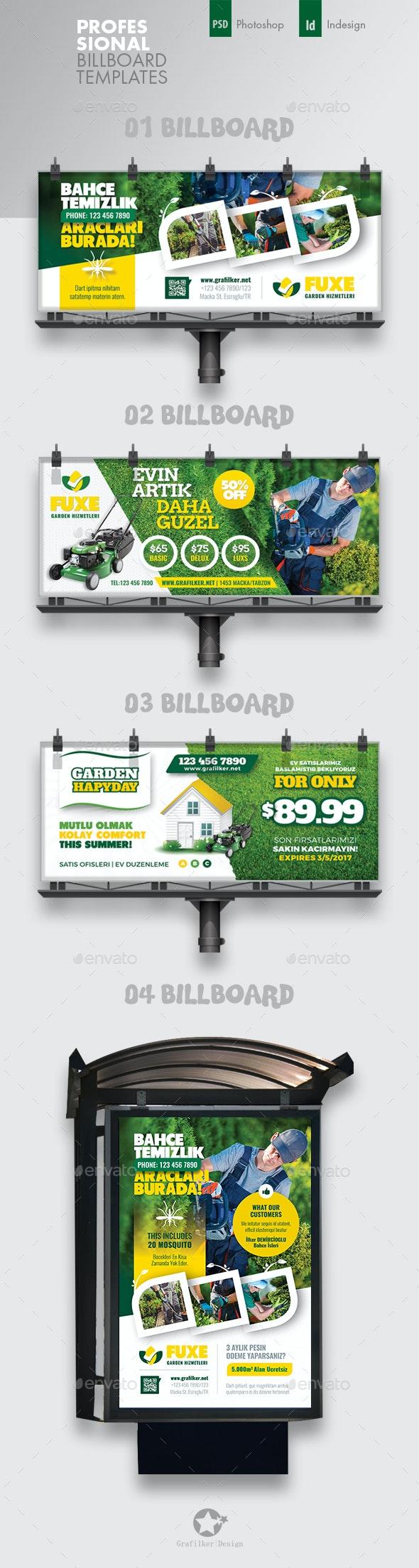 Garden Landspace Billboard Bundle Templates - Signage Print Templates