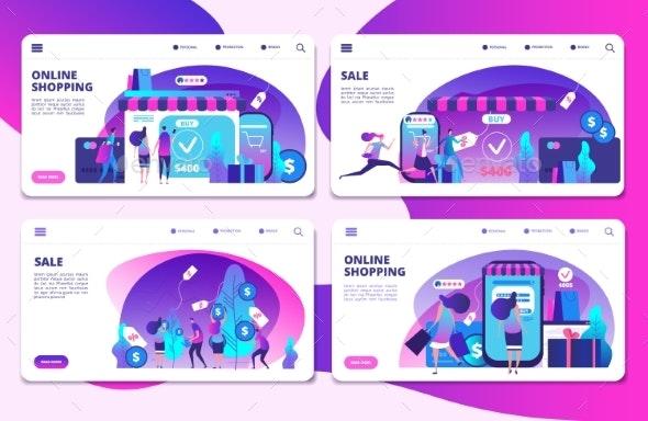 Shopping Sale Landing Page - Miscellaneous Vectors