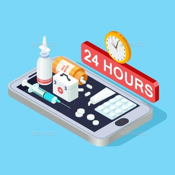 Online Pharmacy Isometric Concept 24 Hours - Miscellaneous Vectors