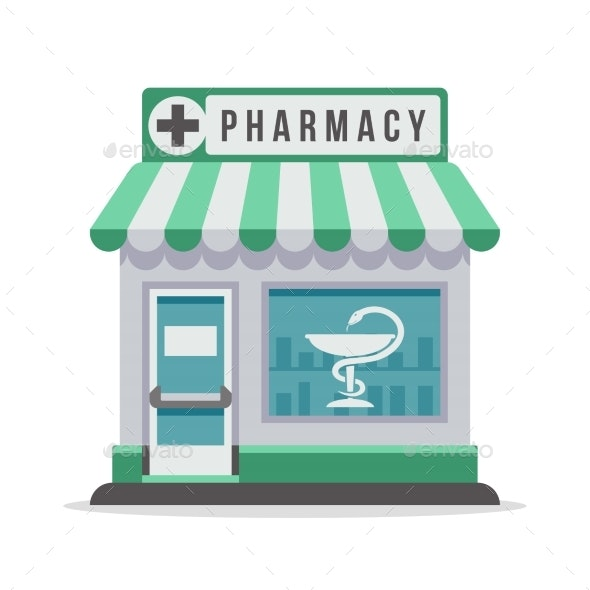 Vector Pharmacy City Building Exterior Front View - Buildings Objects