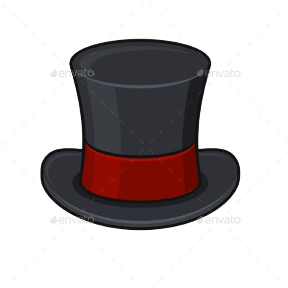 4d4aa4cd0d2e0 Retro Black Top Hat Icon On White Background By In Finity Graphicriver. Hatcrafters  Mad Hatter Top Hat Made To Order
