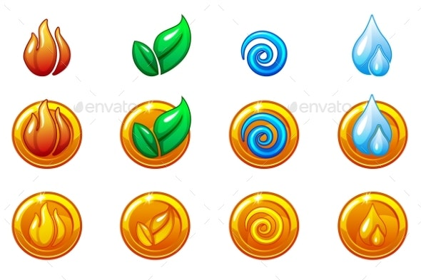 Four Elements Nature Icons - Miscellaneous Game Assets