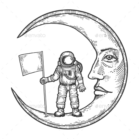 Spaceman with Flag on Moon Engraving Vector - Miscellaneous Vectors