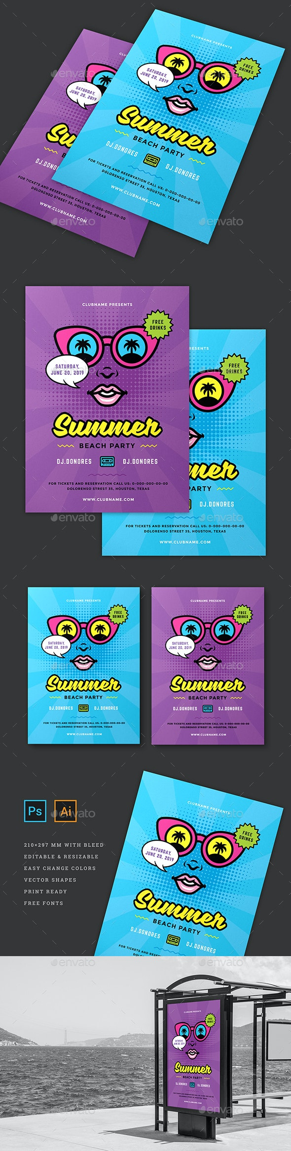 Summer 80s Party Flyer Template - Flyers Print Templates
