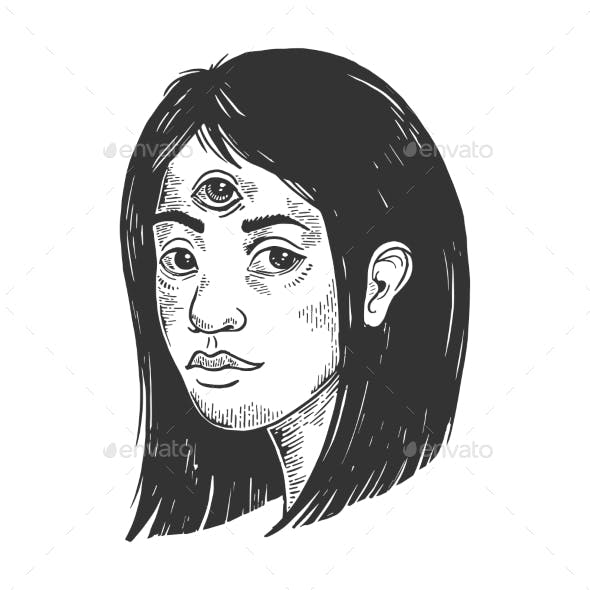 Woman with Three Eyes Engraving Vector