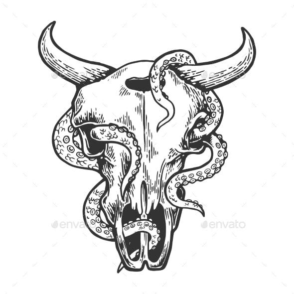 Octopus in Cow Skull Vector Illustration
