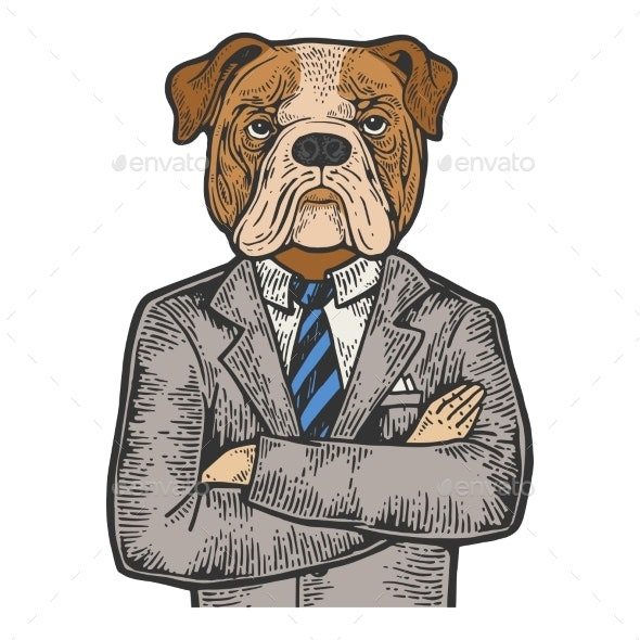 Bulldog Businessman Color Engraving Vector - People Characters