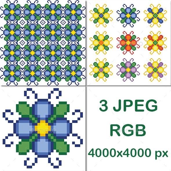 Pixel Art Flowers Pattern - Patterns Backgrounds