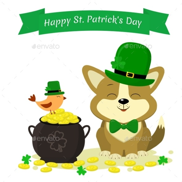 St. Patricks Day Dog in a Green Hat - Animals Characters