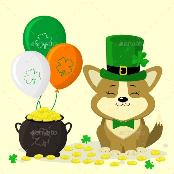 St. Patrick s Day Dog in Green Hat - Animals Characters
