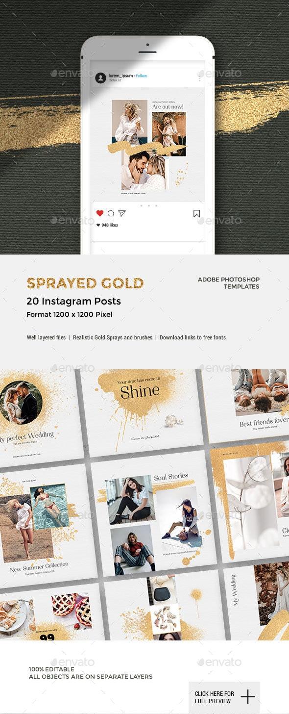 Sprayed Gold - Instagram Posts - Social Media Web Elements