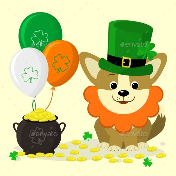 St. Patrick s Day Dog in Green Hat