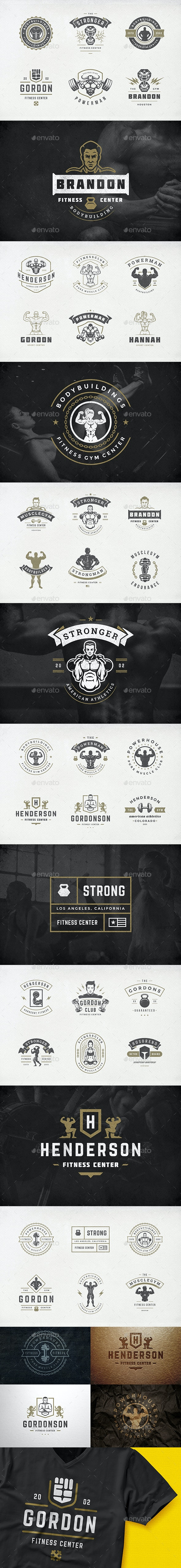 Retro Fitness & Gym Logos Set - Badges & Stickers Web Elements