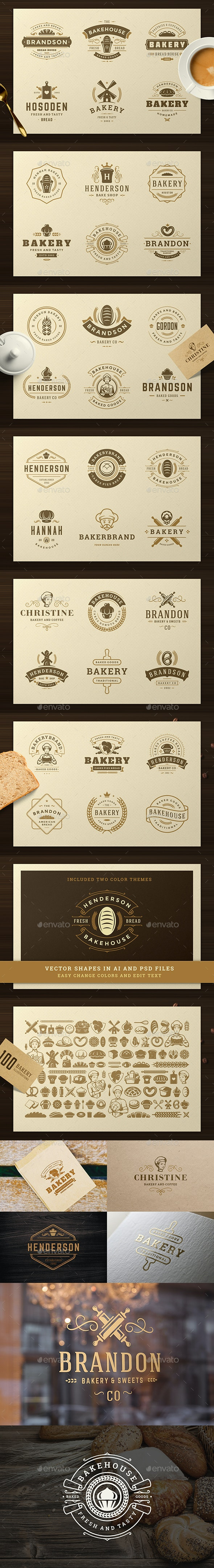 Bakery Logos and Badges - Badges & Stickers Web Elements