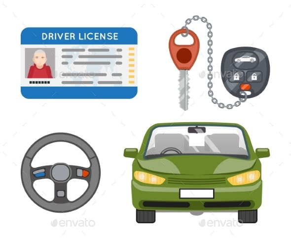 Car Driver License Isolated Icons Set - Man-made Objects Objects