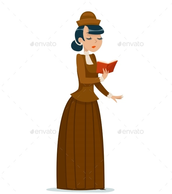 Victorian Lady Character Reading Book Retro - People Characters