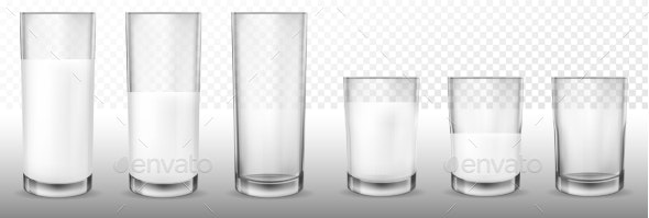 Realistic Transparent Glasses for Milk - Food Objects