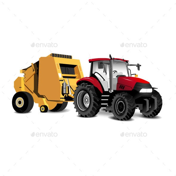 Red and Yellow Vector Tractor - Man-made Objects Objects