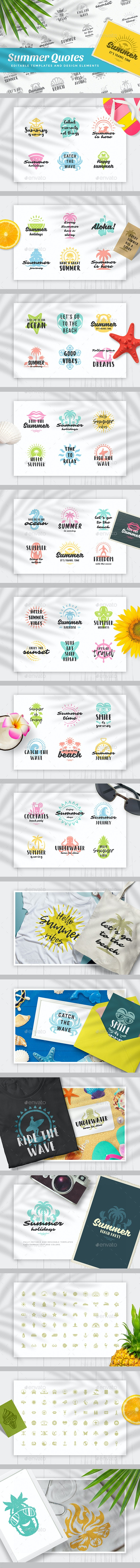 Summer Quotes - Badges & Stickers Web Elements
