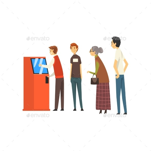 People Waiting in Line to Draw Money from ATM - People Characters