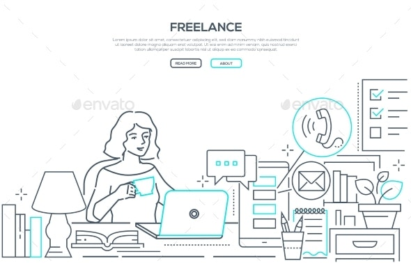 Freelance - Modern Line Design Style Web Banner - Concepts Business