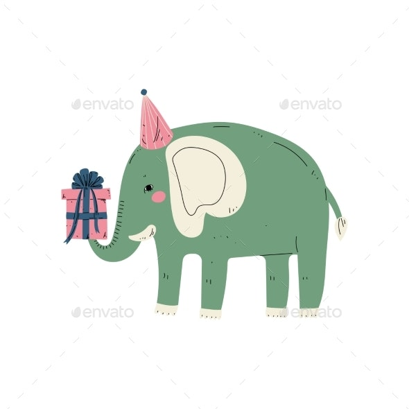 Lovely Elephant Wearing Party Hat with Gift Box - Animals Characters