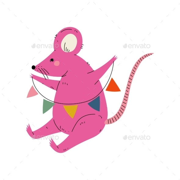 Lovely Pink Mouse Sitting with Party Flags - Animals Characters