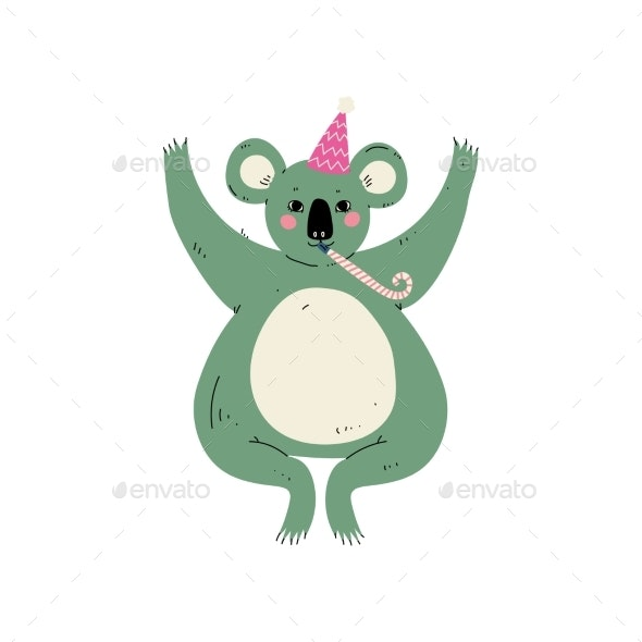 Koala Bear Wearing Party Hat with Whistle - Animals Characters