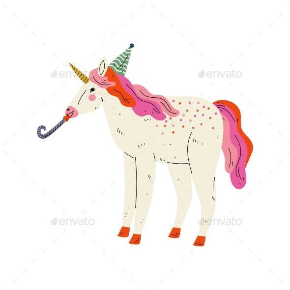 Lovely Unicorn Wearing Party Hat with Whistle - Animals Characters