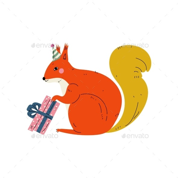 Squirrel Wearing Party Hat with Gift Box - Animals Characters