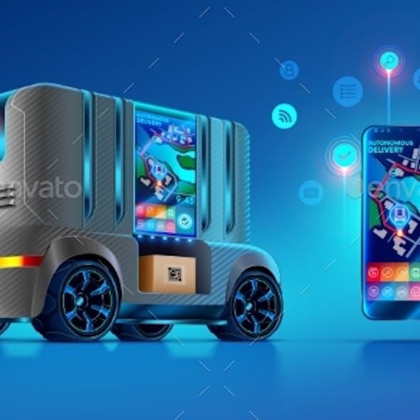 Autonomous Driverless Van Delivers and Ships