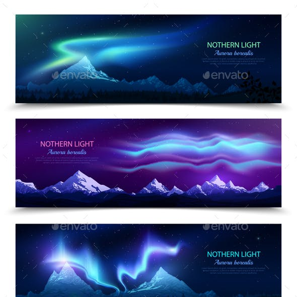 Northern Lights Realistic Banners