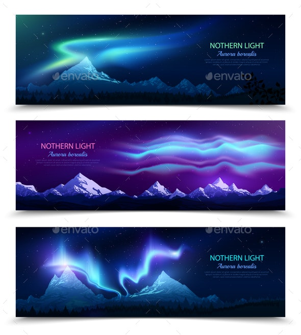 Northern Lights Realistic Banners - Landscapes Nature