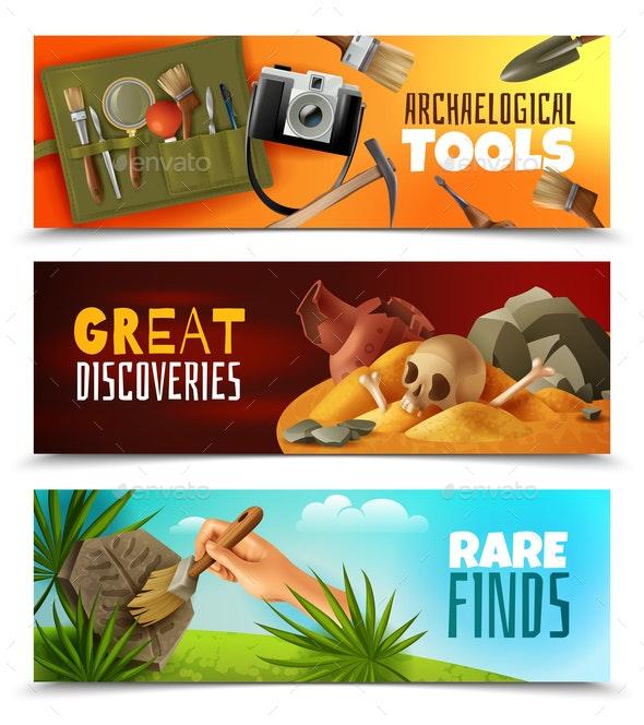 Archeology Horizontal Banners Set - Industries Business