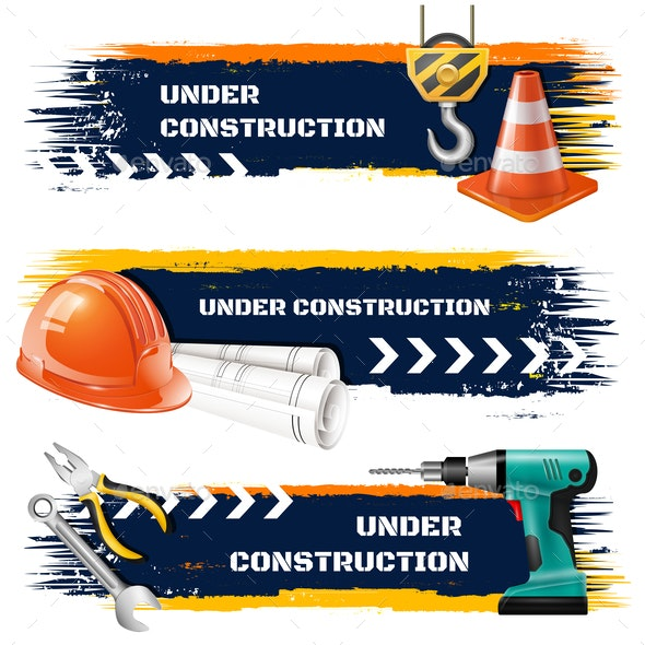 Under Construction Realistic Banners - Industries Business