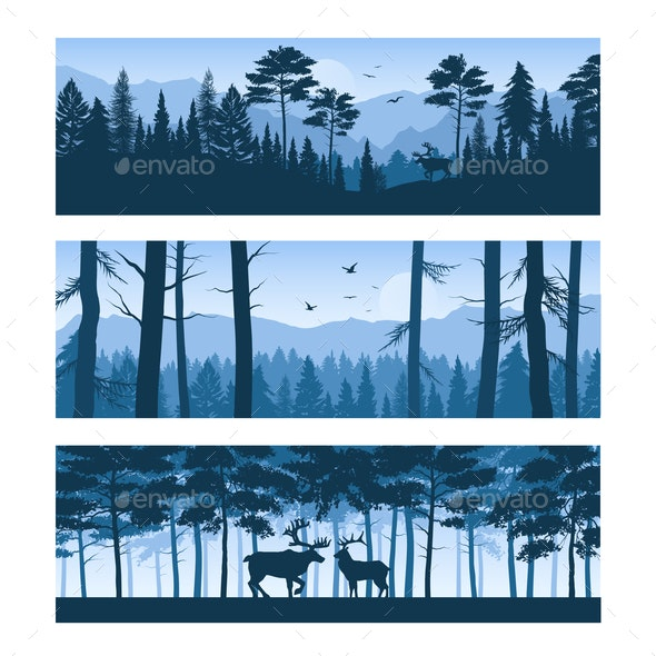 Realistic Forest Landscapes Horizontal Banners - Animals Characters