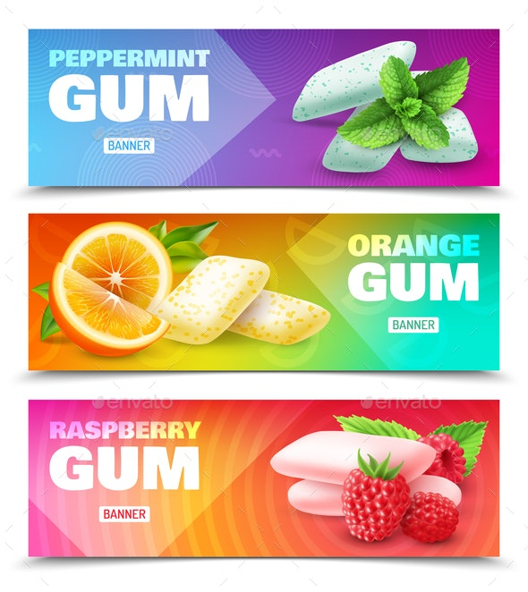 Realistic Chewing Gum Banners - Health/Medicine Conceptual