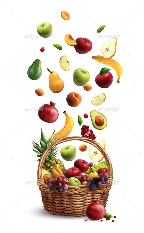 Falling Fruits Basket Realistic - Food Objects