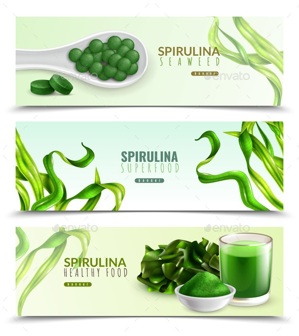 Spirulina Realistic Horizontal Banners - Food Objects
