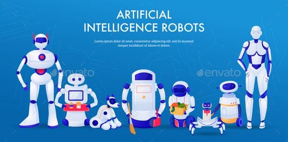 Artificial Intelligence Robots Horizontal Banner - Computers Technology