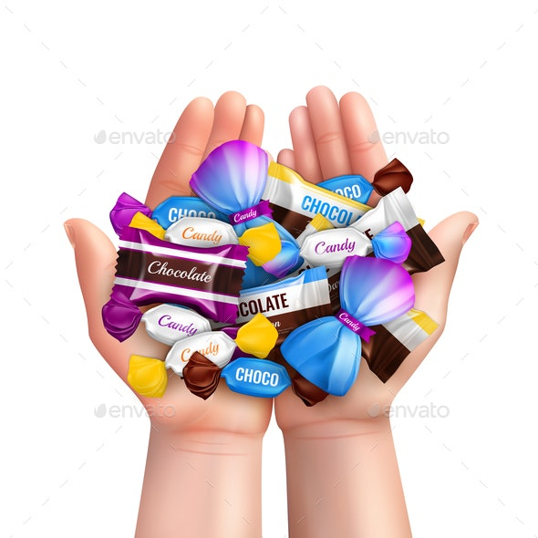 Realistic Candies Heap Composition - Food Objects