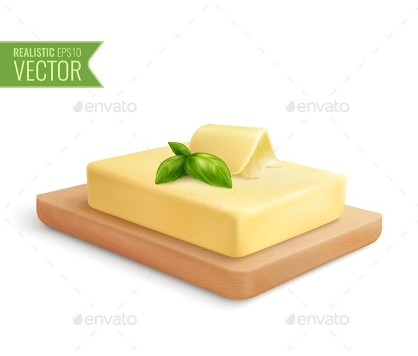 Butter Realistic Composition - Food Objects