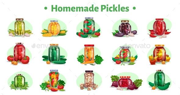 Homemade Pickle Jars Set - Food Objects