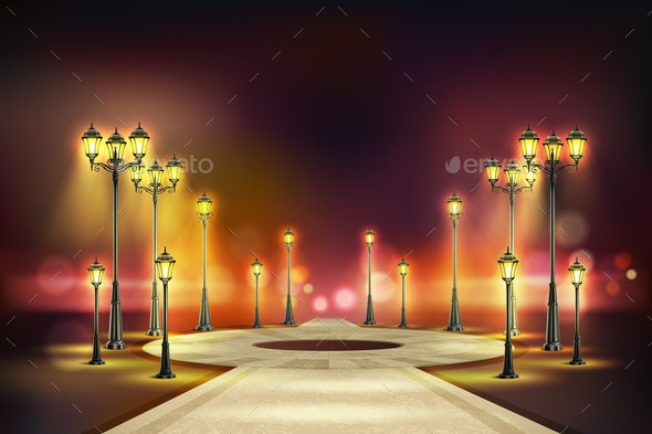 Colored Street Lights Realistic Composition - Miscellaneous Vectors