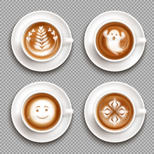 Colored Latte Art Top View Icon Set - Food Objects
