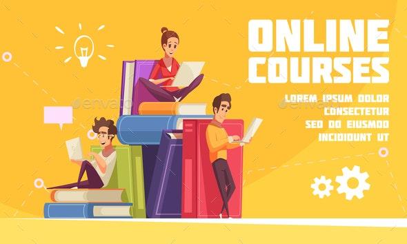 Online Courses Cartoon Advertising - Miscellaneous Vectors